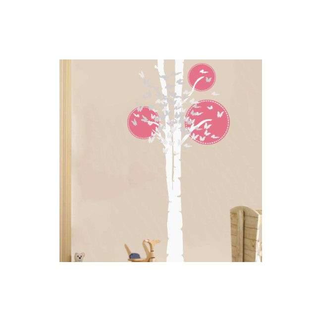 Αυτοκόλλητο τοίχου δέντρο και πεταλούδες, Butterflies tree, λευκός κορμός
