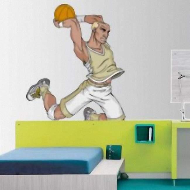 Αυτοκόλλητο τοίχου Μπάσκετ Κάρφωμα style 1