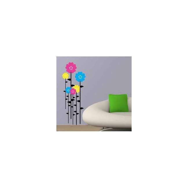 Αυτοκόλλητο τοίχου Πολύχρωμα Λουλούδια