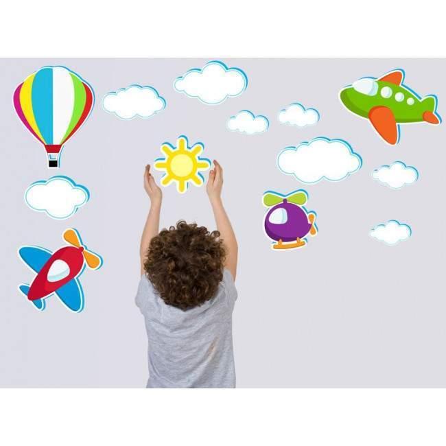 Αυτοκόλλητα τοίχου παιδικά αεροπλάνα αερόστατα & σύννεφα, Ιπτάμενη συλλογή