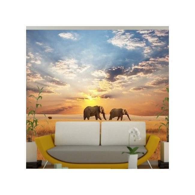 Ταπετσαρία τοίχου Ελέφαντες στη σαβάνα