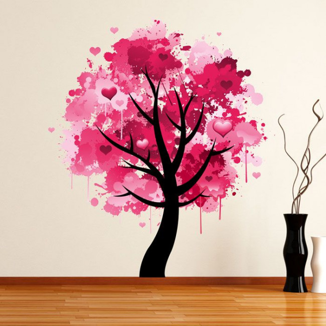 Αυτοκόλλητο τοίχου χρωματιστό δέντρο και καρδιές, Splash tree!