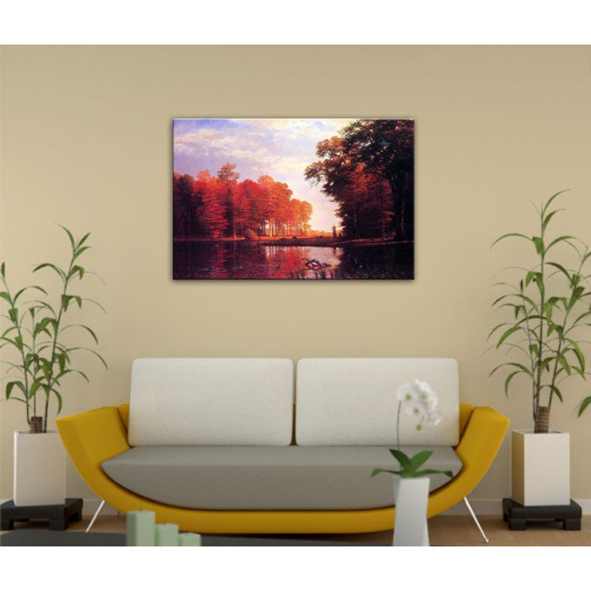 Canvas print Autumn woods, Bierstadt Albert