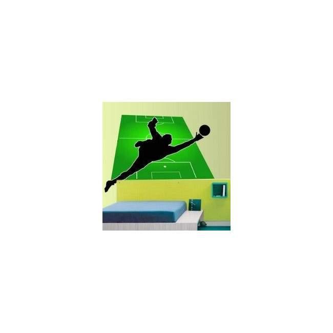 Αυτοκόλλητο τοίχου Απόκρουση τερματοφύλακα με φόντο το γήπεδο