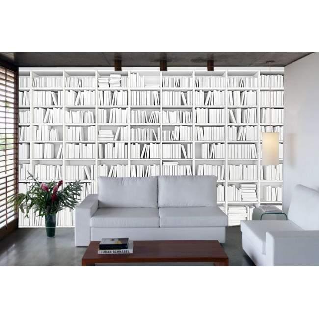 Ταπετσαρία τοίχου Λευκή βιβλιοθήκη