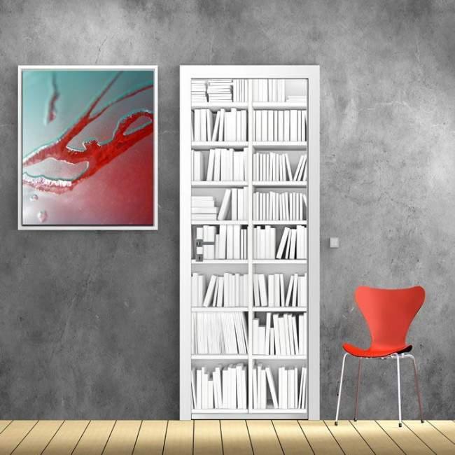 Αυτοκόλλητο πόρτας Λευκή βιβλιοθήκη
