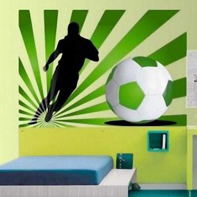 Αυτοκόλλητο τοίχου Ποδοσφαιριστής  με εντυπωσιακό φόντο πράσινο