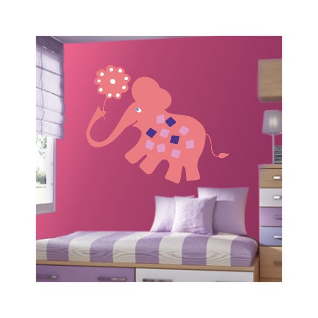 Αυτοκόλλητα τοίχου παιδικά Ροζ ελέφαντας