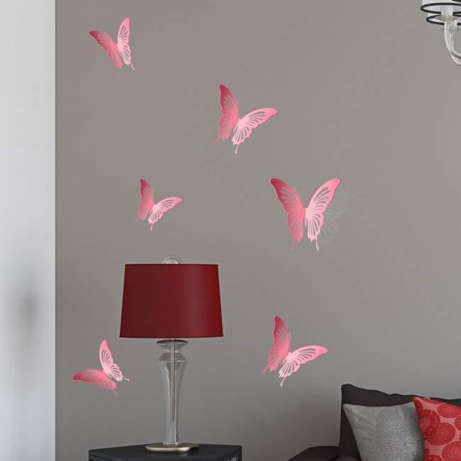 Πεταλούδες 3D ροζ σετ,αυτοκόλλητο τοίχου