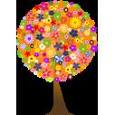 Δέντρο  από λουλούδια,  αυτοκόλλητο τοίχου, κοντινό