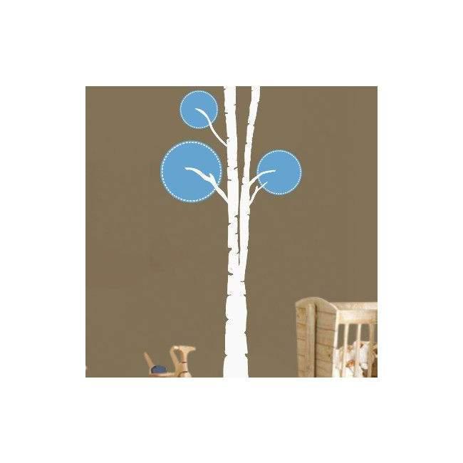 Αυτοκόλλητο τοίχου δέντρο, Design tree,  λευκό - γαλάζιο
