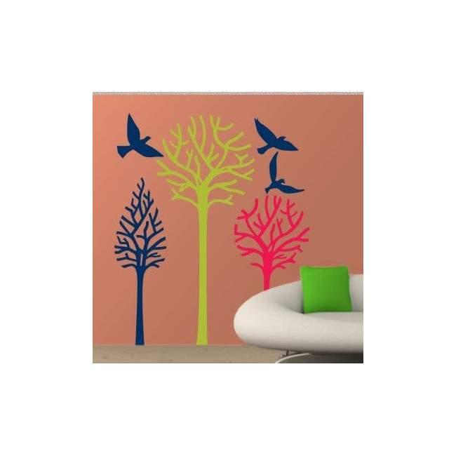 Αυτοκόλλητα τοίχου Δέντρα και πουλιά, Birds & Trees γήινα χρώματα