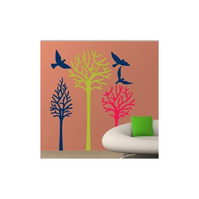 Wall stickers Birds & Trees earth colors