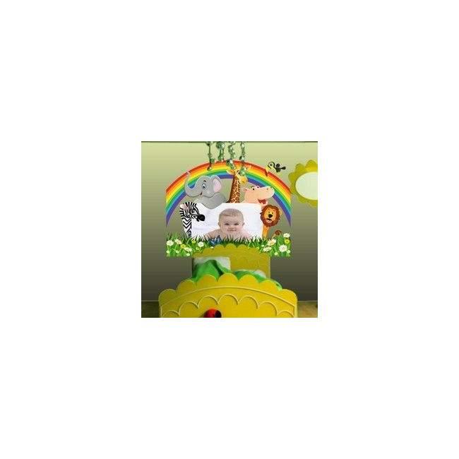 Αυτοκόλλητα τοίχου παιδικά Παρέα στη ζούγκλα με χώρο για παιδική φωτογραφία