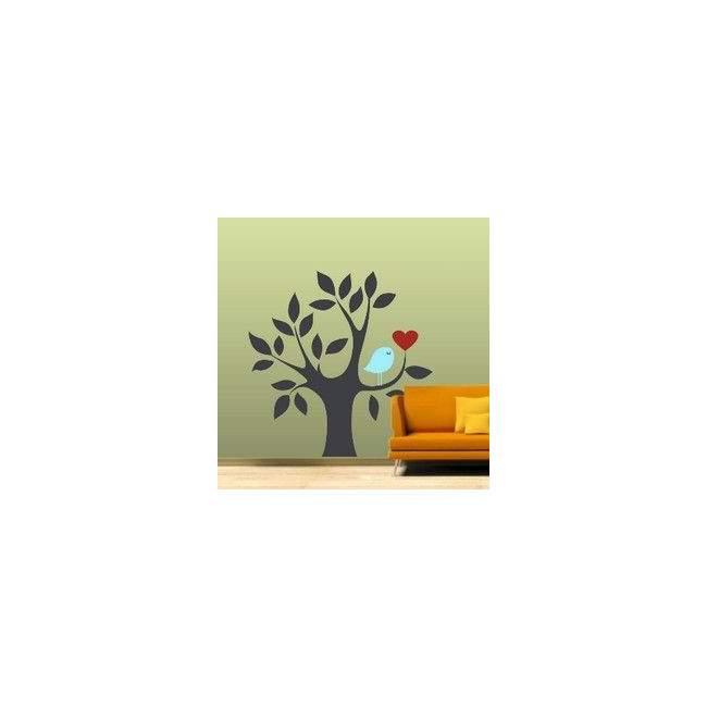 Αυτοκόλλητο τοίχου Δέντρο, καρδιά και πουλί, γκρι μπλε