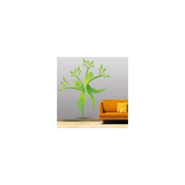 Αυτοκόλλητο τοίχου δέντρα, άνθρωποι, φύλλα. Πράσινος χορός