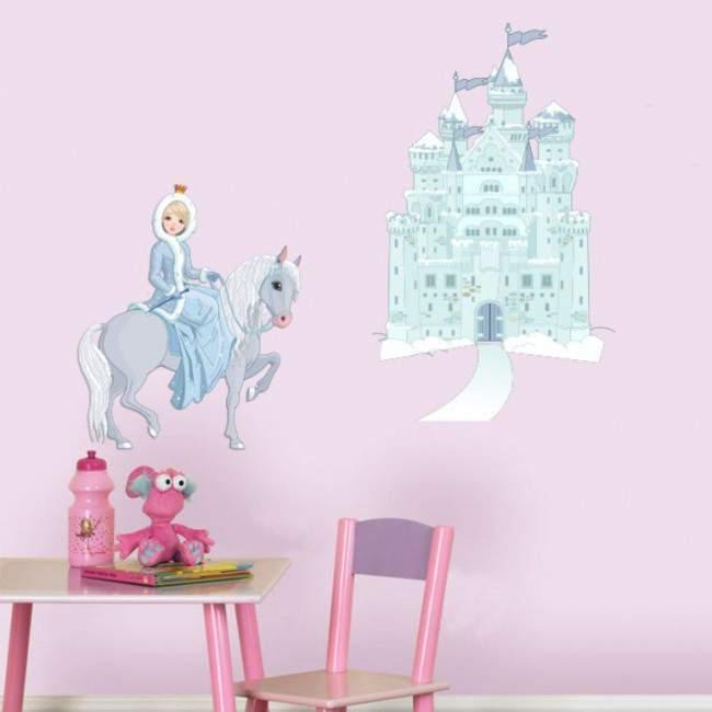 Αυτοκόλλητο τοίχου Πριγκίπισσα άλογο και κάστρο.