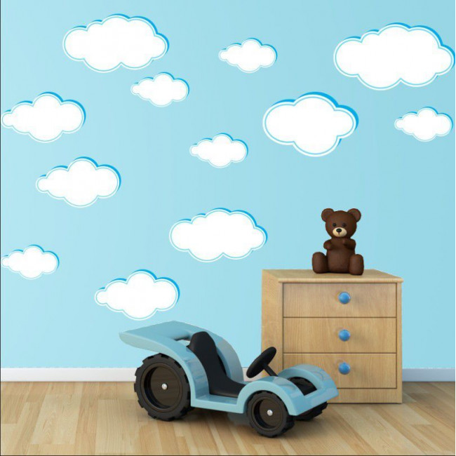 Kids wall stickers clouds various sizes