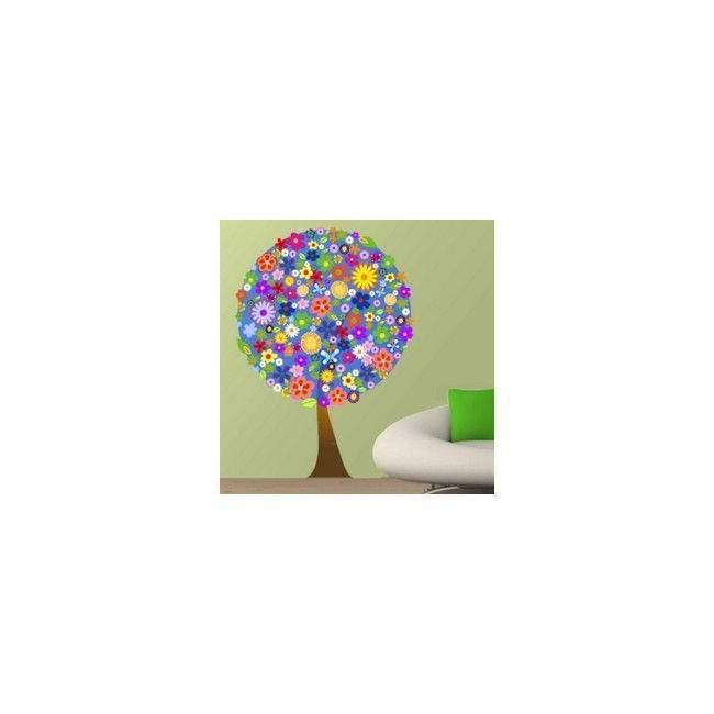 Αυτοκόλλητο τοίχου Δέντρο  από λουλούδια, μπλέ φόντο