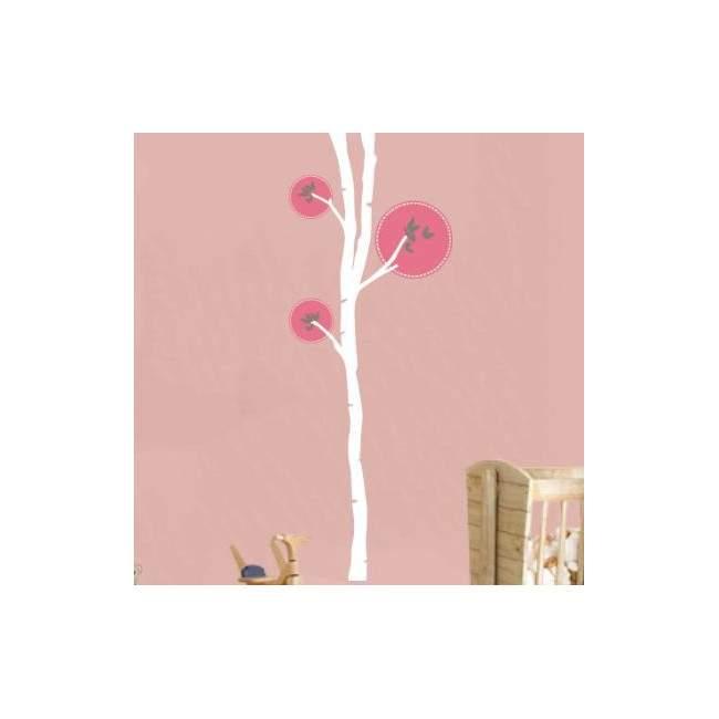 Αυτοκόλλητο τοίχου δέντρο και πεταλούδες, Butterflies tree 2, λευκός κορμός
