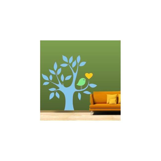 Αυτοκόλλητο τοίχου Δέντρο, καρδιά και πουλί, γαλάζιο
