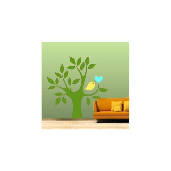 Αυτοκόλλητο τοίχου Δέντρο, καρδιά και πουλί, πράσινο