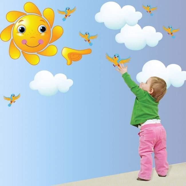 Αυτοκόλλητα τοίχου παιδικά Ήλιος , σύννεφα και πουλιά