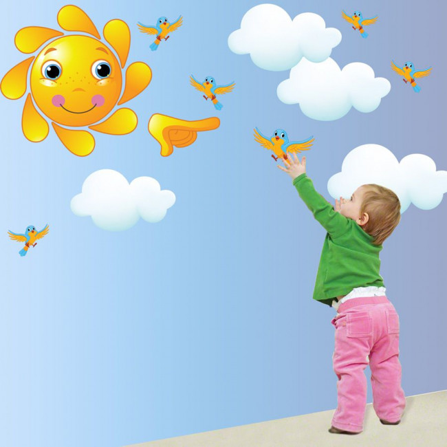 Kids wall stickers Sun, clouds and birds