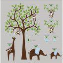 Kids wall stickers Tree with giraffe, little elephants and monkeys, combination 1