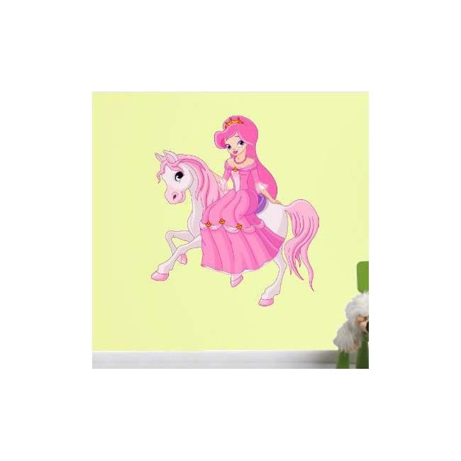 Αυτοκόλλητα τοίχου παιδικά Πριγκίπισσα στο άλογο της