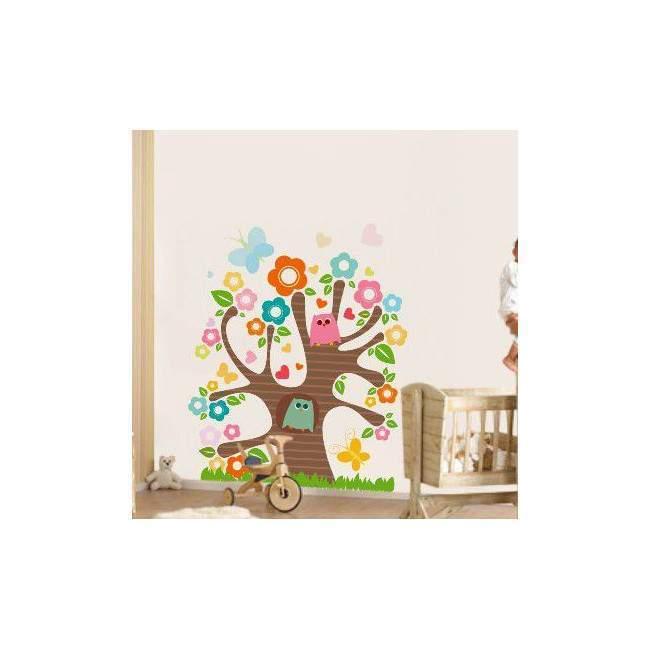 Αυτοκόλλητο τοίχου δέντρο, κουκουάγιες, λουλούδια, Χαρούμενο δέντρο