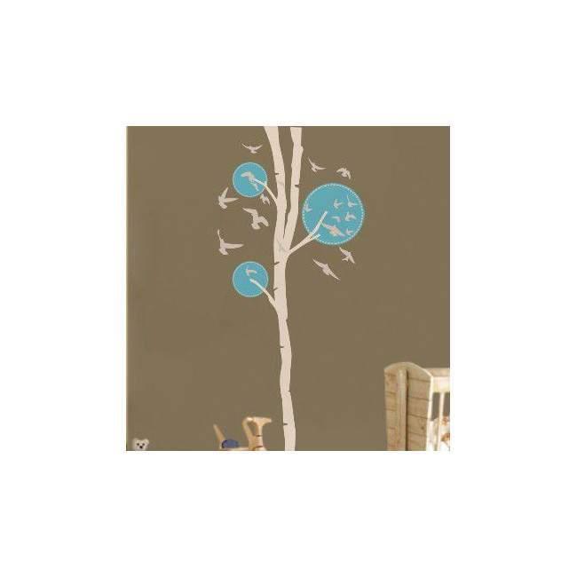 Αυτοκόλλητο τοίχου Design tree,  λευκό - γαλάζιο με πουλιά