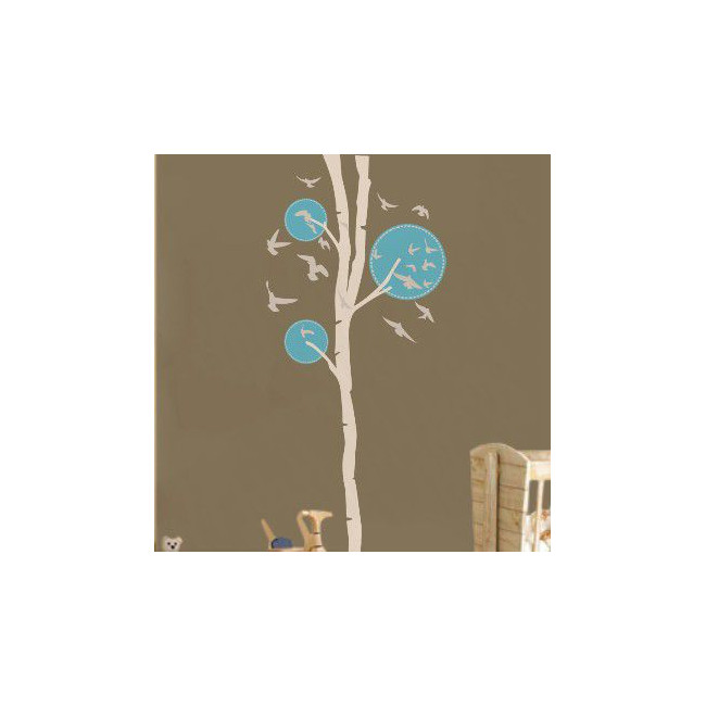 Wall stickers Design tree,  white - light blue with birds
