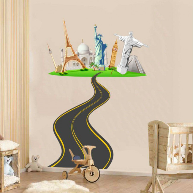 Αυτοκόλλητο τοίχου Μνημεία  απο όλο τον κόσμο, Ο δρόμος για τον κόσμο 2