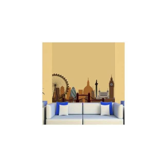 Αυτοκόλλητο τοίχου Λονδίνο, περίγραμμα αποχρώσεις του καφέ