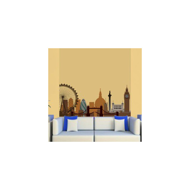 Wall stickers London, outline shades of brown