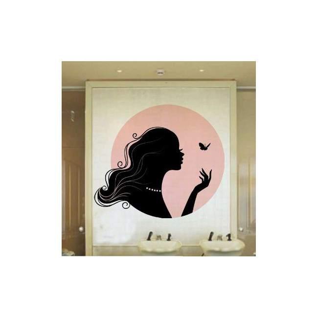 Αυτοκόλλητο τοίχου Όμορφη γυναικεία σιλουέτα με πεταλούδα, Butterfly Kiss