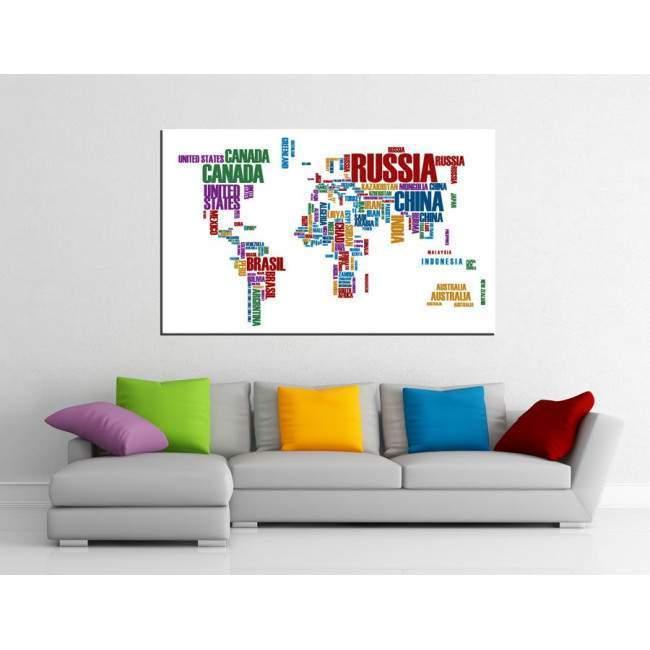 Πίνακας σε καμβά Χρωματιστός παγκόσμιος χάρτης με λέξεις