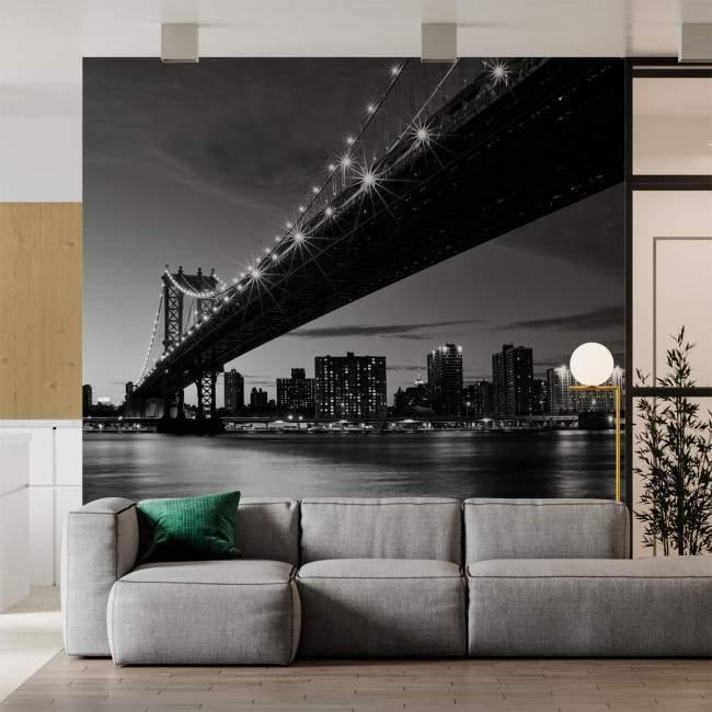 Wallpaper Manhattan Bridge grayscale