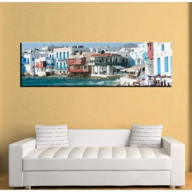 Canvas print Mykonos little Venice, panoramic
