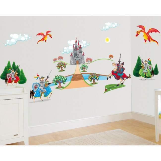 Αυτοκόλλητα τοίχου παιδικά Ιππότες , κάστρο και δράκος, μεγάλη συλλογή
