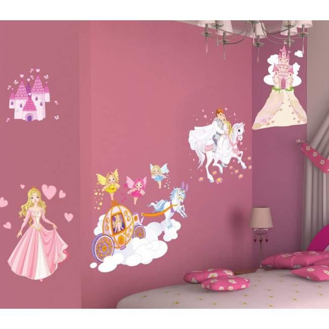 Αυτοκόλλητα τοίχου παιδικά πριγκίπισσα, νεράιδες, κάστρο, πρίγκιπας, Πριγκίπισσα και η μαγική περιπέτεια