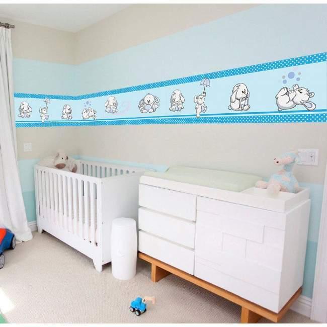 Μπορντούρα αυτοκόλλητο τοίχου, Κουνελάκια παντού γαλάζια