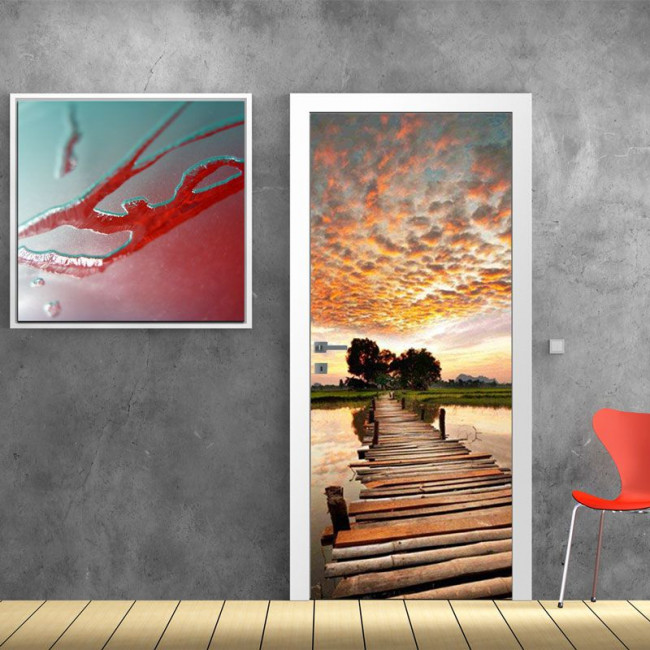Αυτοκόλλητο πόρτας Path to sunset
