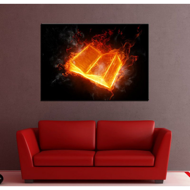 Canvas print Book on fire