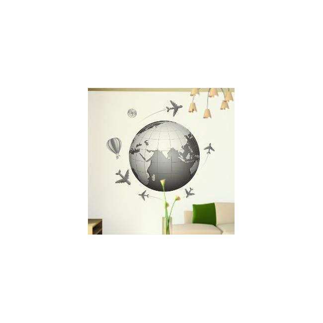 Αυτοκόλλητο τοίχου Η γη, αεροπλάνα, αερόστατα, πυξίδα, Ταξίδι στον κόσμο 2