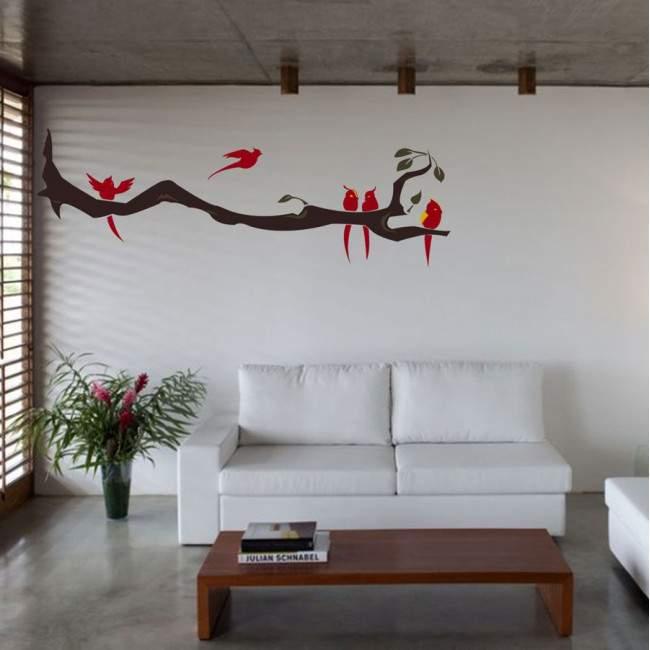 Αυτοκόλλητο τοίχου κλαδί με πουλιά, Birds time