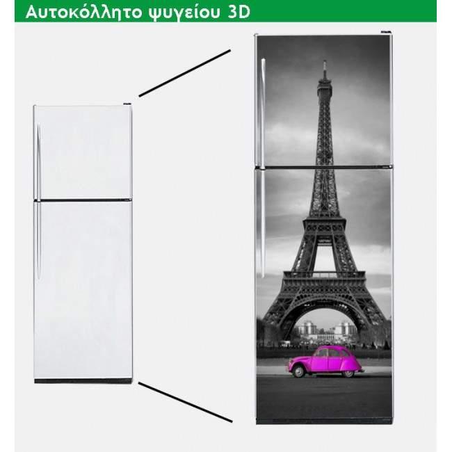 Αυτοκόλλητο ψυγείου 2CV @ Eiffel fuchsia
