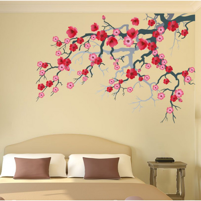Wall stickers blooming branch, pink and red flowers. Pink blossomed branch