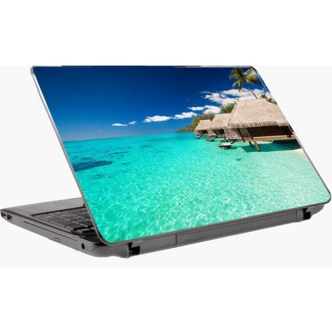 Εξωτικές καλύβες σην   παραλίααυτοκόλλητο laptop